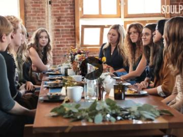 Women sitting around a table