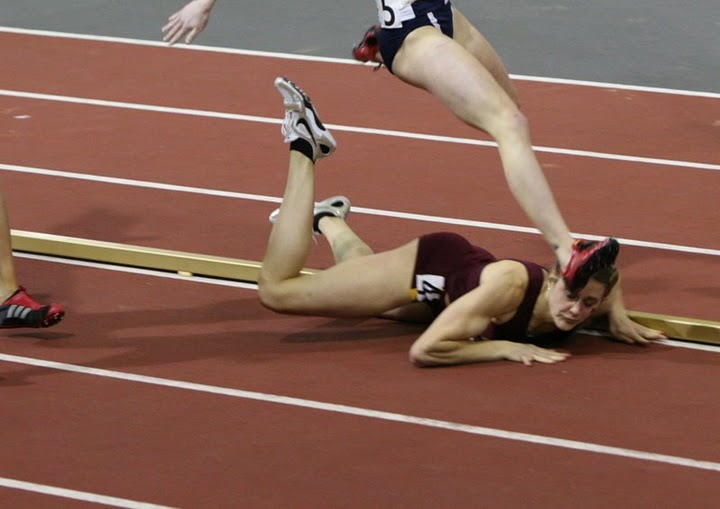 this girl fell flat on her face during a race what happens next is