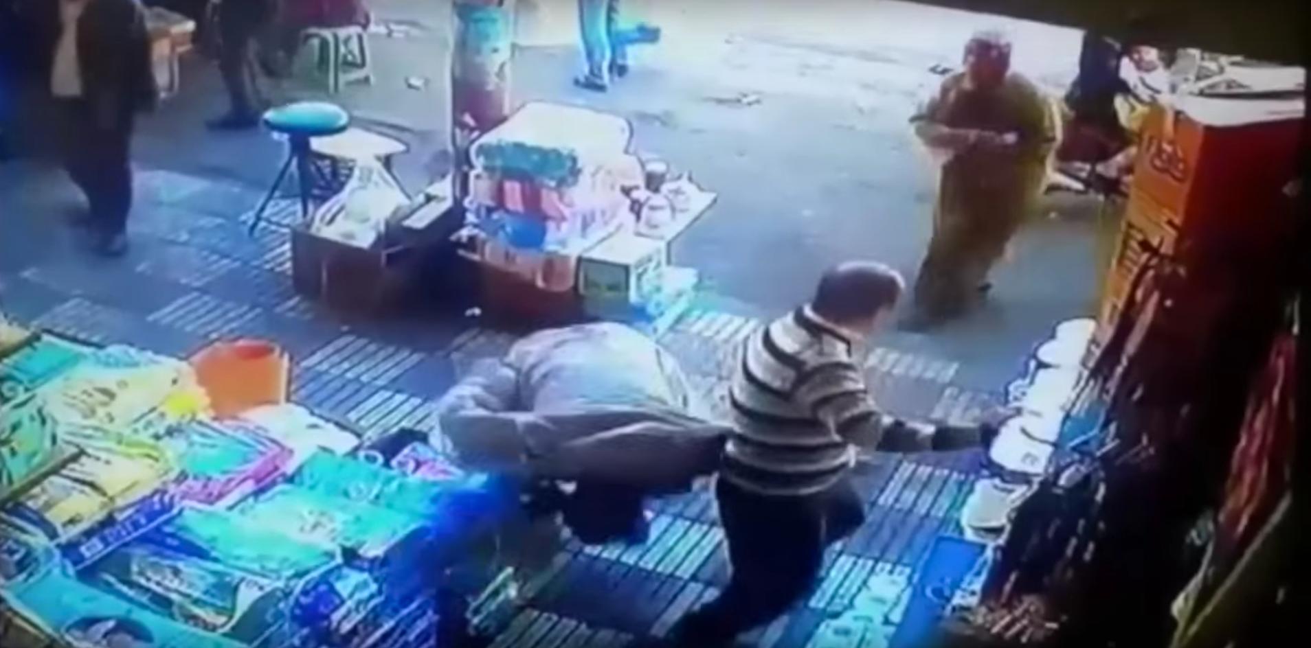woman knocks out man