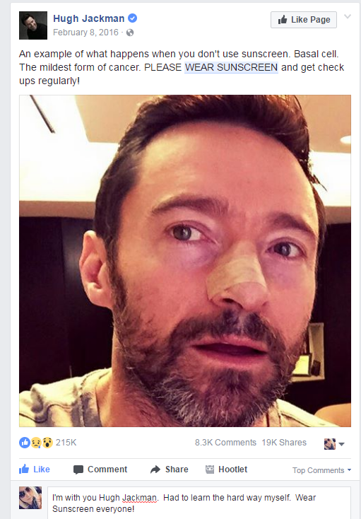 Hugh Jackman says to wear sunscreen