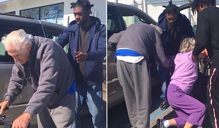 3 young men run from gas station to grab struggling elderly couple..as cop watches in awe of kindness