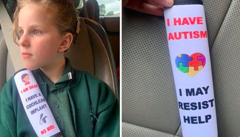 Mom creates seat belt to alert emergency services of children with disabilities